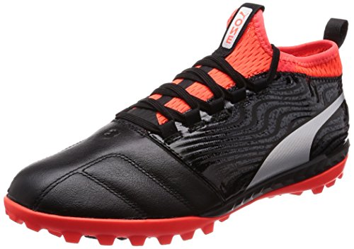 Puma ONE 18.3 TT, Herren Fußballschuhe, Schwarz (PUMA Black-PUMA Silver-RED Blast), 41 EU (7.5 UK)