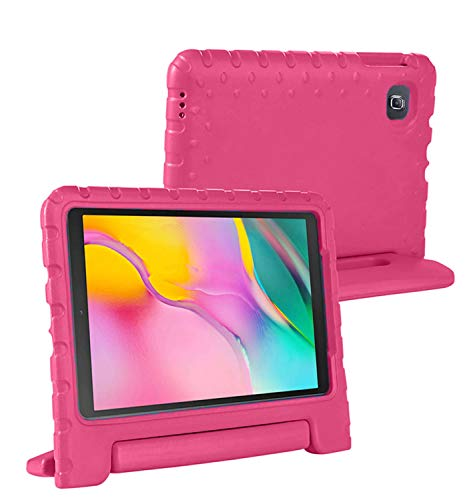 Samsung Galaxy Tab A 2019 10.1' Case - Heavy Duty Shockproof & Dustproof - Convertible Handle Stand -Easy to Carry- Lightweight Full Body Protective Case - Kids Friendly Rugged Case, T510 T515 Pink
