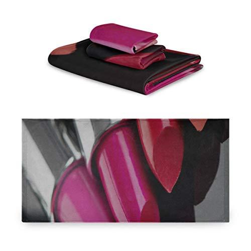 Generies Bad Baumwoll Handtuch Sets Mode Lippen Patch Mit Lippenstift Dekorative Handtücher Set...