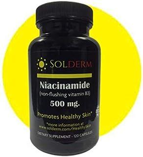Solderm Niacinamide 500mg Non-Flushing | Vitamin B3 | Vegetarian, Gluten-Free 120 Capsules | Promotes Healthy Skin