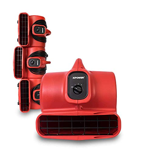 XPOWER P-430 1/3 HP Air Mover, Carpet Dryer, Floor Fan, Utility Blower - Red (4 Fans)