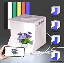 Mini Portable Photo Studio Shooting Tent Adjustable Brightness, JHS-TECH Small Foldable LED Light Box Softbox Kit with 6 Colors Backdrops for Photography, Built-in 2pcs 6000K Led Light Stripe