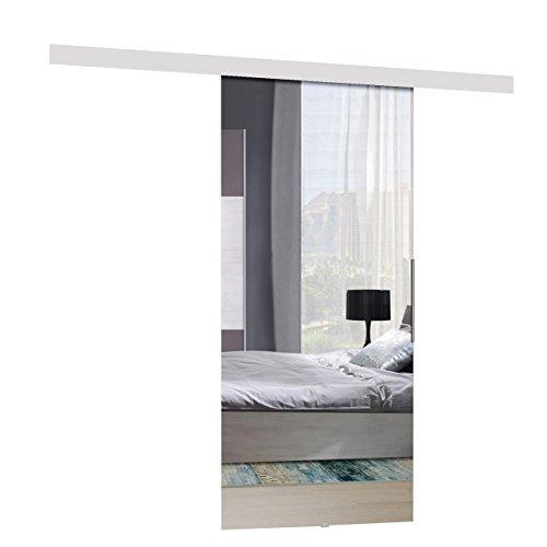 Mirjan24 Schiebetürsystem Mirror Komplett-Set für Schiebetüren Trennwände Innentüren (Weiß + Spiegel, Modell 90, mit Selbstschließer)