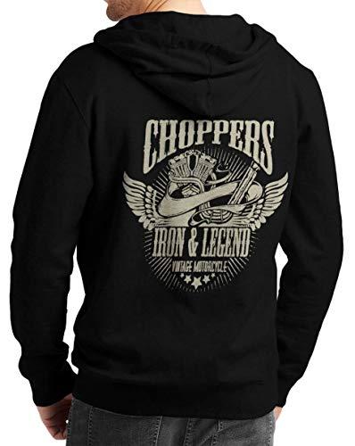Rebel on Wheels Herren Zip Hoodie Sweat-Jacke mit Kapuze Kapuzen-Jacke Winter mit Motiv Bedruckt Totenkopf Skull Biker Motorrad Choppers Iron Legend Schwarz L