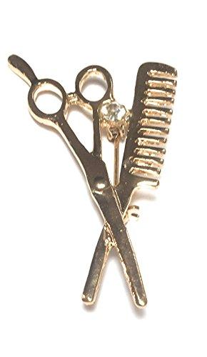 FizzyButton Gifts Gouden Toon Kam en Schaar Kapper Broche met Strass Detail, Badge Sjaal pin