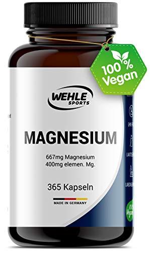 Magnesium 400mg Kapseln hochdosiert - 365 Stück (1 Jahr) 667mg je Kapsel, davon 400mg elementares Magnesium I Laborgeprüft Vegan - Wehle Sports