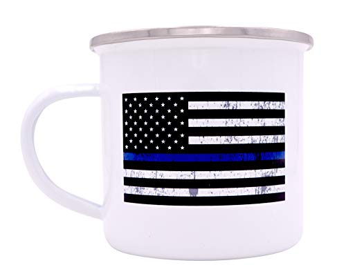 The Thin Blue Line Flag Camp Mug Enamel Camping Coffee Cup Gift Police Officers Law Enforcement