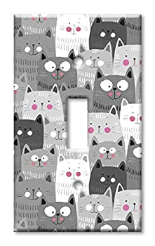 Art Plates 1-Gang Toggle OVERSIZED Switch Plate/OVER SIZE Wall Plate - Gray & White Cat Toss