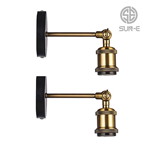 SUN-E Wandlampe Wandleuchte Industrie mit Einstellbar Messing-Kopf, Vintage Retro Café Loft Bar Flurlampe(Ohne Lampe), Set 2 Stück