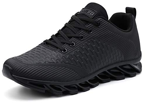 JOOMRA Men Tennis Shoes Leather Stylish Running Walking Non Slip Fitness Footwear for Man Trainers Athletic Male Workout Sneakers Black Size 11