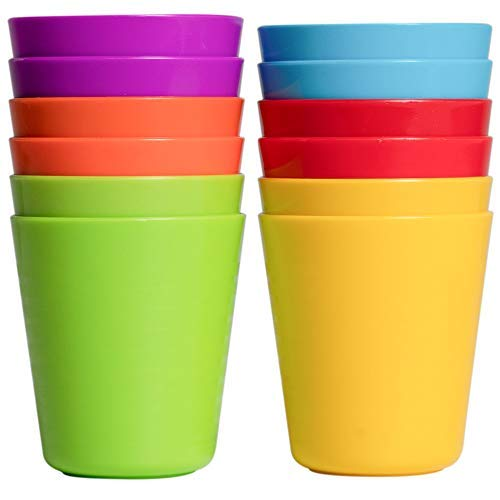 Klickpick Home - Set of 12 Kids Plastic Cups - 8 oz Children Drinking Cups Tumblers Reusable - Dishwasher Safe - BPA-Free Cups for Kids & Toddlers Bright Colored - Unbreakable Toddler Cups