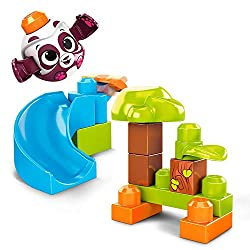 Playset includes 1 Peek A Blocks rolling panda, 12 big building blocks with printed pictures and 1 slide with launcher All-new design for action-reaction play: Place your Peek A Blocks animal on a block to activate its peek-a-boo surprise Ideal for a...