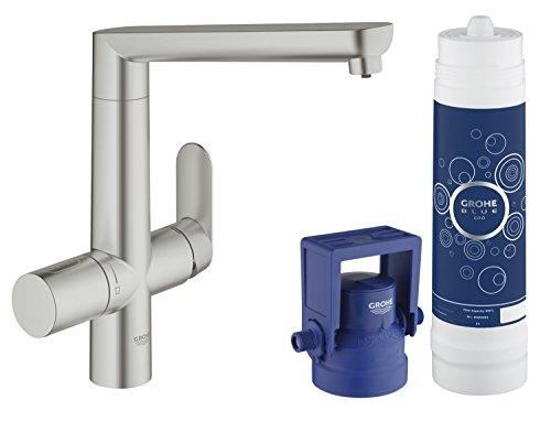 GROHE Blue K7 Pure Küchenarmatur mit Filterfunktion, L-Auslauf, SuperSteel 31344DC1