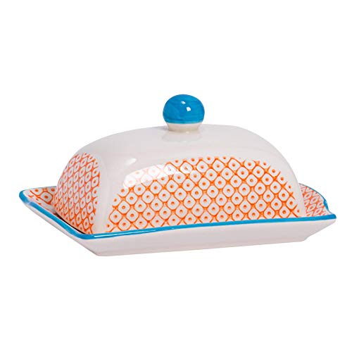 Nicola Spring Patterned Ceramic Butter Dish with Lid, 18 x 11 x 9 cm (7 x 4 x 3.5 inches) - Orange/Blue Print