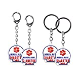 """4 Pack Type1 Diabetes Keychain - Allergy Medical Alert Symbol Bag Tags Set, Double Side Key Tag for Zipper Pull Charm 1.4"""" for Adult and Child"""