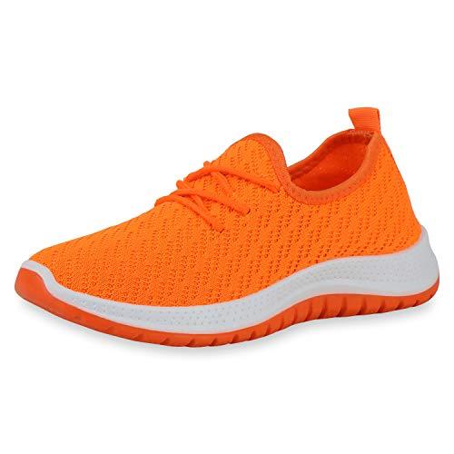 SCARPE VITA Damen Sportschuhe Laufschuhe Strick Flache Profilsohle Bequeme Freizeitschuhe Schnürer Sportliche Schuhe 195416 Neon Orange 39