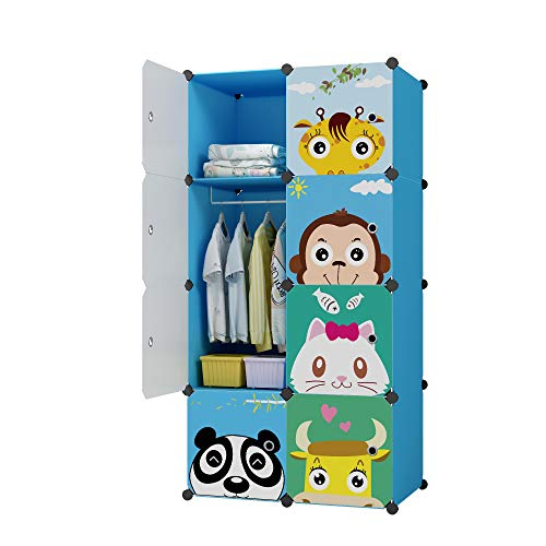 KOUSI Portable Kids Wardrobe Children Dresser Hanging Storage Rack Clothes Closet Bedroom Armoire Cube Organizer Formaldehyde-free Furniture, Blue, 6 Cubes&1 Hanging Section