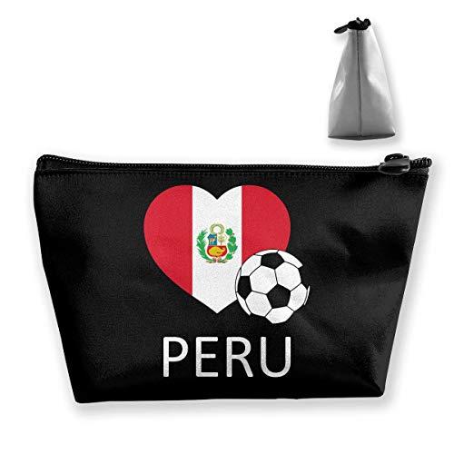 DJNGN Love Peru Soccer Portátil Maquillaje Reciba Bolsa de Almacenamiento Bolsas de Gran Capacidad Bolsa de Lavado de Viaje a Mano