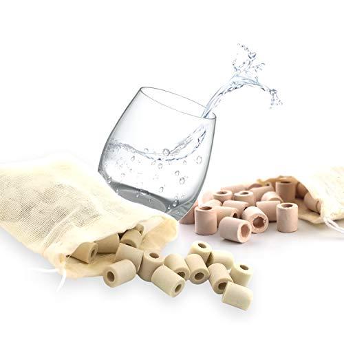 EM - Lote de 30 perlas rosas + 30 grises cerámica con bolsa de algodón reutilizable | Purificador natural del agua del grifo | Bolas de arcilla filtrante antical, cloro | filtración jarra cafeteras