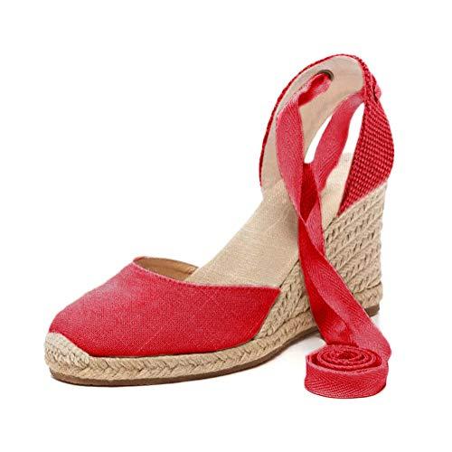 Tomwell Sandalias Mujer Cuña Alpargatas Moda Bohemias Romanas Sandals Rivet Playa Verano Tacon Zapatos A Rojo 35 EU