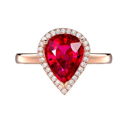 Ubestlove Rosegold Ring Breit Geschenk Frau Ab 60 Roter Turmalin-Wassertropfen 1,27 Ct 3,15 Ct Ring 1.27Ct 56