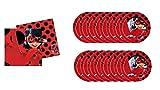 ALMACENESADAN 0460; Pack Lady Bug, Miraculous; Ideal para Fiestas y cumpleaños; 16 Platos y 20 servilletas.