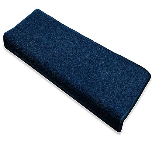 Floordirekt Stufenmatte Dynasty Velours | Halbrund oder eckig | Schutz für Treppenstufen | weicher Hochflor | In 3 zusätzlichen Farben (Stufenmatte rechteckig 15 Stück, Blau)