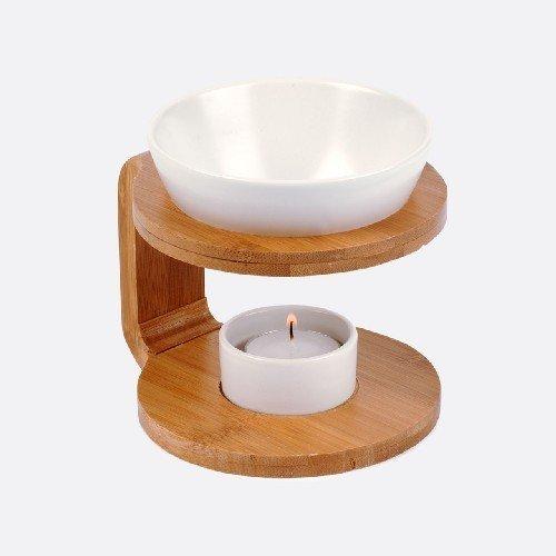 Duftlampe rund aus Bambus/ Keramik H: 12,5 cm
