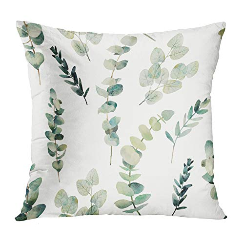 Emvency Throw Pillow Covers Decorative Green Leaf Watercolor multipack Eucalyptus Branches Hand Floral with Plant Objects on White Natural Greenery Twig 18x18 Inch Cushion Pillowcase Sofa Square Print
