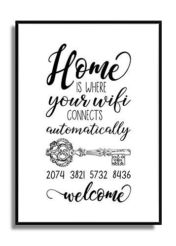 Fine-Art Kunstdruck Wand-Bild mit Ihrem personalisiertem WIFI SCHLÜSSEL Als Info für Ihre Gäste schwarz-weiß Deko Poster Plakat mit Spruch / W-LAN Passwort