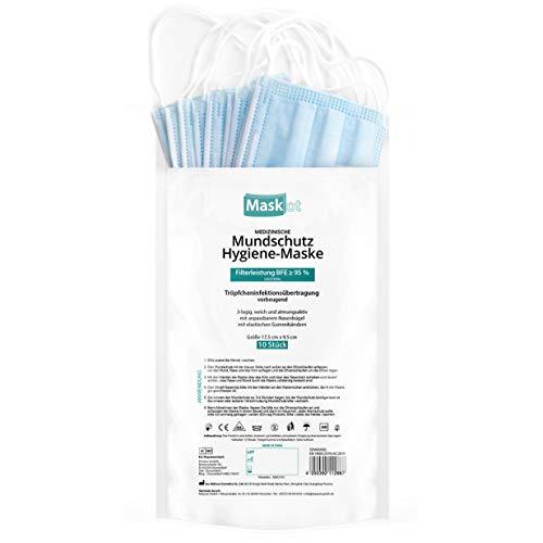 10x Medizinische Mundschutz Hygiene-Maske, atmungsaktiv, geruchsneutral, anpassbarer Nasenbügel ideal für Brillenträger