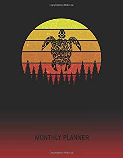 Monthly Planner: Tribal Turtle | 2 Year Planning for Jan 2020 to Dec 2021 | Retro Vintage Sunset Cover | January 20 - December 21 | Planning Organizer ... | Plan Days, Set Goals & Get Stuff Done
