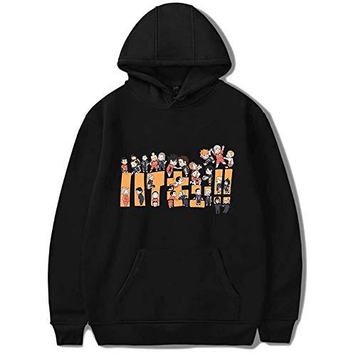 2021 The Last Haikyuu Hoodie Karasuno High School Pullover Jacket Kageyama Tobio Hinata Shoyo Nishinoya Volleyball Cosplay Costume Friends Sweat pour hommes et femmes (Couleur: A-noir, Taille: M)