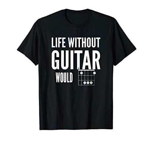 Life Without Guitar Would B Flat (Bb) Music Pun White Design T-Shirt