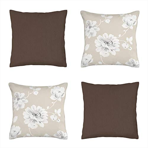 Koen Home Pack 4 Unidades 45x45 cm de Cojines Chenilla algodón, Decorativos y Modernos para salón, Dormitorio, sofá - Estampado Flores y marrón Chocolate - Relleno no Incluido