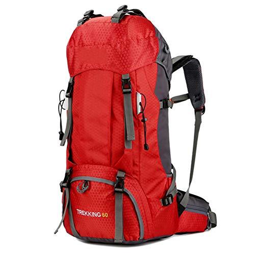 Gran Capacidad Bolsa De Emergencia Mochila De Trekking, 60L Mochila De Senderismo Impermeable, Macutos De Impermeable Multifuncional, Para Excursionismo Camping Viajar Actividades Al Aire Libre,Rojo