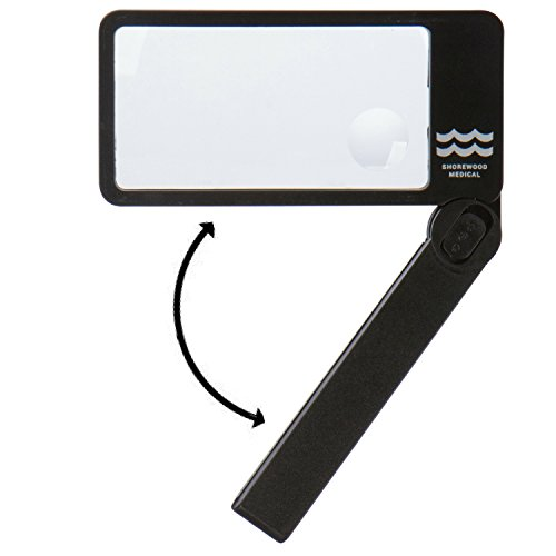 Magnifying Glass with Light. Magnifier for Reading with Bright LED Lights, Folding Handle, Easy to Store & Carry. Rectangular Lens is Best Shape for Reading - 2.5X Lens with 4X Inner Lens.