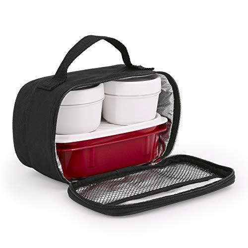 TATAY Urban Food MiniPlus Negro - Bolsa Térmica Porta Alimentos con 3 Tápers Herméticos Incluidos, 1 Ovalado de 0.5L más 2 Redondos de 0.2L, Color Negro, Medidas 21.5 x 9 x 12 cm