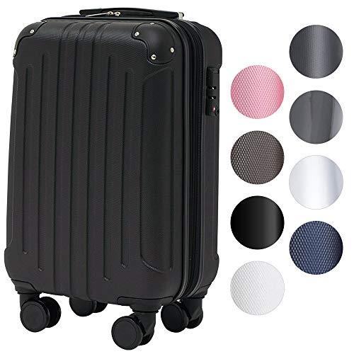 スーツケース アイリスプラザ キャリーバッグ 軽量 Sサイズ 40L 拡張機能付 ダブルキャスター 1~3泊 旅行 エンボスブラック