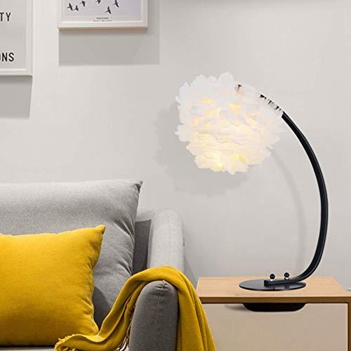 GHJA Lámparas de Escritorio de Plumas para Dormitorio nórdico, lámpara de Lectura de Arco LED para el Cuidado de los Ojos, luz de Noche Blanca cálida, lámpara de Noche de Hierro Forjado E27 para