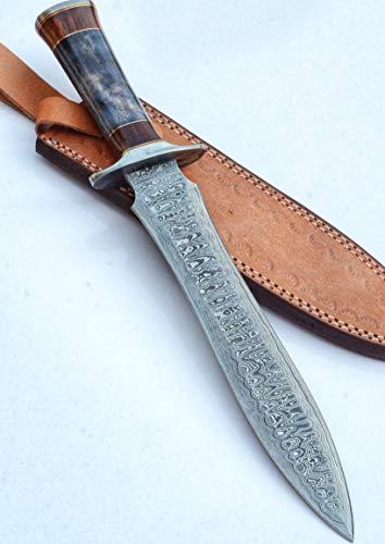 DK-4012 Damascus Steel Handmade 15 Inches Damascus Steel Dagger Knife - Beautiful Rose Wood & Black Micarta Handle