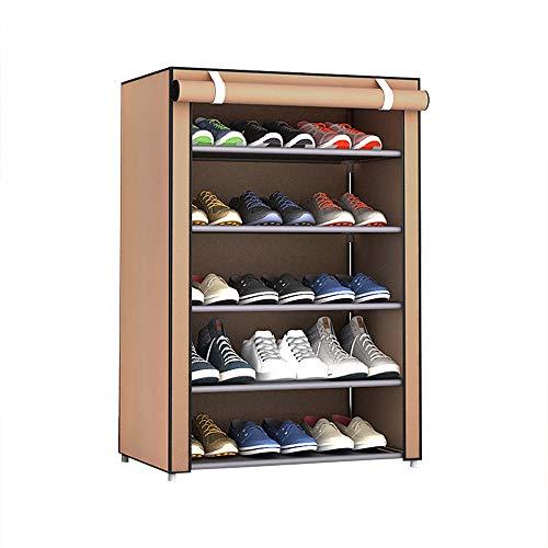 LOEMWJ Zapatero a prueba de polvo para zapatos de tela no tejida para zapatos, organizador para el hogar, zapatos, estantes de almacenamiento (color: marrón 5 capas)