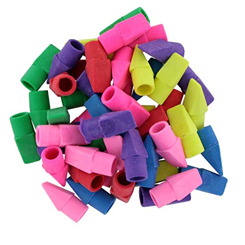 BAZIC Neon Eraser Top. Chisel Shaped Erasers for Standard Pencils (50/Pack)