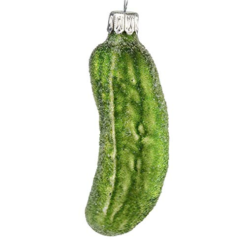 HolidayGiftShops Glass German Pickle Christmas Ornament (small, green with pearls)