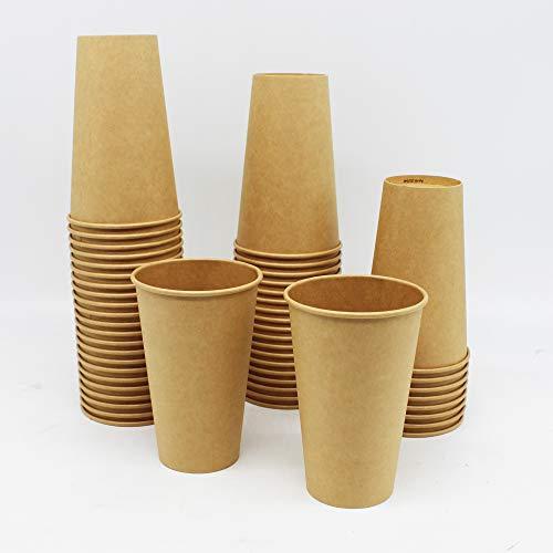 BAMI EINWEGARTKEL | Pappbecher | Kaffeebecher | Einwegbecher | Braun, Pappe Kraftpapier, 16oz. 400ml | BIOLOGISCH ABBAUBAR | 100 Stück