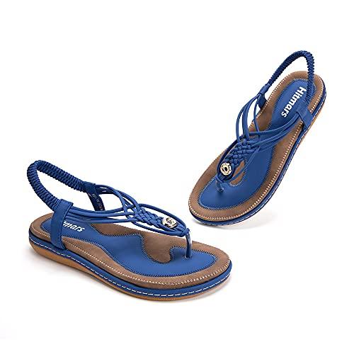 Sandali Donna Bassi Estive Eleganti Comodi Infradito Piatti Bohemia Roma Casual Scarpe da Spiaggia Nero Marrone Blu Numero 35-42 EU blu 37 EU