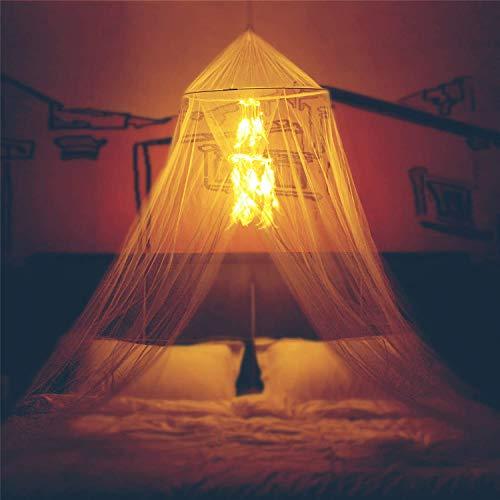 Moskitonetz Bett,betthimmel mit Traumfänger warmem 50 LED-Lichterkette,Baldachin und Traumfänger Dekor für Babys, Kinder, Mädchen oder Erwachsene Zimmer,passt passt für Einzelbett bis Kingsize-Bett