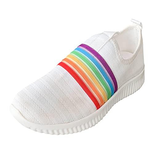 Fmkaieo Zapatillas casuales de mujer de malla arcoíris para deporte, casual, para correr, deportes, al aire libre, fitness, atletismo, caminatas, etc., blanco, 32
