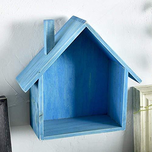 Drijvende planken, wandplank, houder, opslagrek, woody, kleine huis, slaapkamer, woonkamer, woonaccessoires, multifunctioneel, 6 kleuren, 18 5 x 8 5 x 23 cm (kleur: roze) blauw