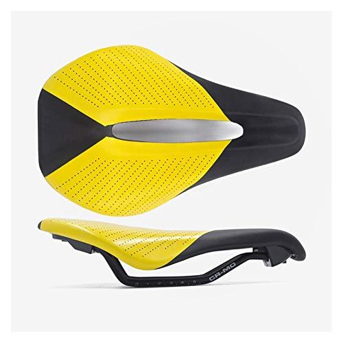 MCNDJIRE Asiento de Silla de Montar Contrarreloj Silla de Montar de Ciclo de la Bicicleta Suave Hombres Mujeres cómodo Que compite con la Bici del Camino de Montar Piezas (Color : Orange)